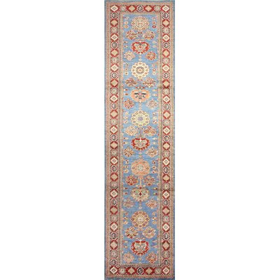 One-of-a-Kind Harrod Hand-Knotted Wool Orange/Light Blue Area Rug