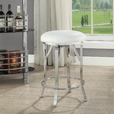 Chused 24 Swivel Bar Stool Color: White/Chrome