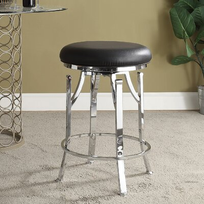 Chused 24 Swivel Bar Stool Color: Black/Chrome