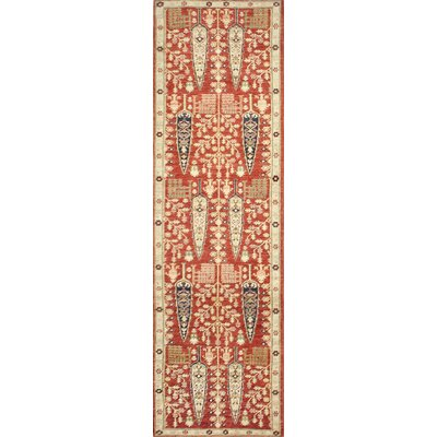 One-of-a-Kind Miliano Hand-Knotted Wool Red/Beige Area Rug