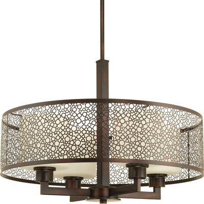 Keishasha 4-Light Drum Pendant Finish: Antique Bronze