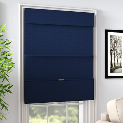 Luxurious Magnetic Room Darkening Roman Shade Blind Size: 27W x 64L, Color: Commodore Blue