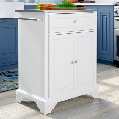 Abbate Kitchen Cart with Stainless Steel Top Base Finish: White