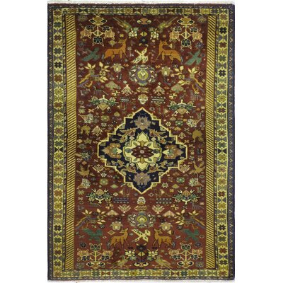One-of-a-Kind Hartin Hand-Knotted Wool Brown Area Rug