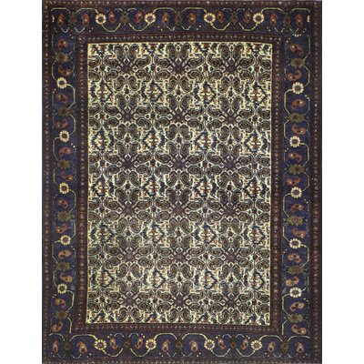One-of-a-Kind Haslett Hand-Knotted Wool Ivory/Purple Area Rug