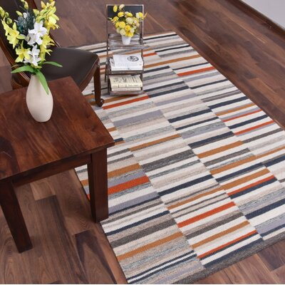 Gallacher Hand-Woven Gray/Orange Area Rug Rug Size: Rectangle 8  x 10