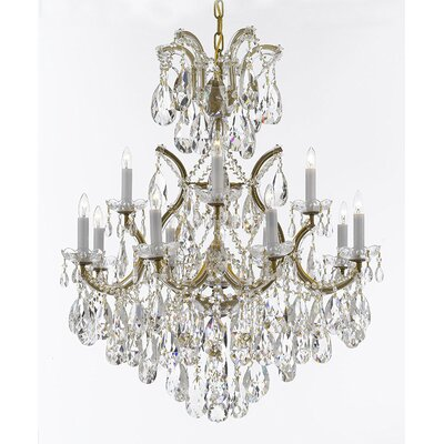 Alvarado 13-Light Crystal Chandelier Base Finish: Gold