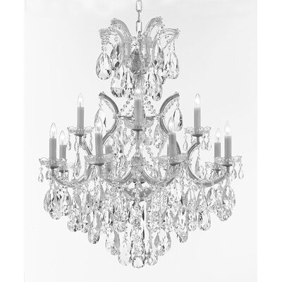 Amhold Swarovski 13-Light Crystal Chandelier Base Finish: Silver