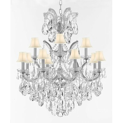 Alvarado 13-Light Crystal Chandelier Base Finish: Silver