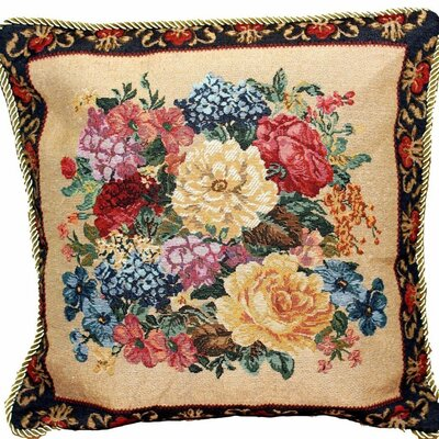 Field Breath of Spring Dark Border Floral Elegant Square Pillow Cover