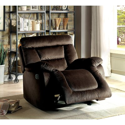 Click Manual Glider Recliner Upholstery: Brown