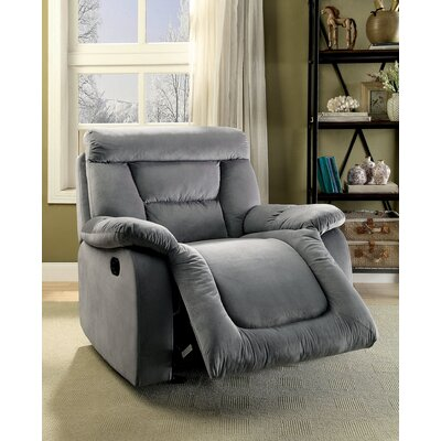Click Manual Glider Recliner Upholstery: Gray