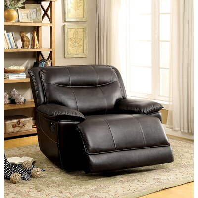 Royston Manual Glider Recliner Upholstery: Brown