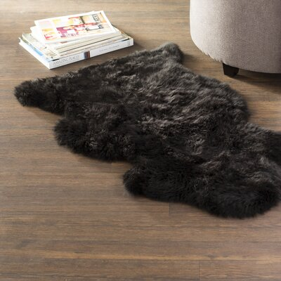 One-Of-A-Kind Barga Hand Woven Sheepskin Black Area Rug Rug Size: Rectangle 2 x 3, Color: Black