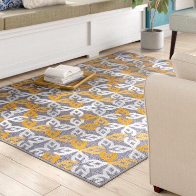 Imelda Contemporary Geometric Non-Slip Gray/Yellow Area Rug Rug Size: Rectangle 710 x 10