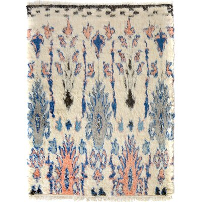One-of-a-Kind Alastar Hand-Knotted Wool Ivory/Blue Area Rug