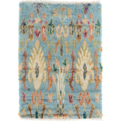 One-of-a-Kind Alastar Hand-Knotted Wool Blue/Cream Area Rug