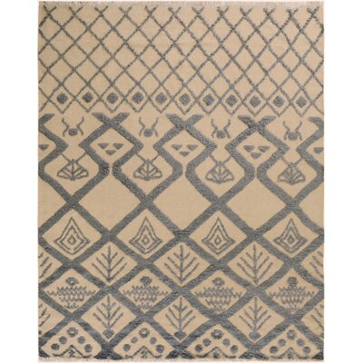 One-of-a-Kind Alastar Hand-Knotted Wool Ivory/Black Area Rug