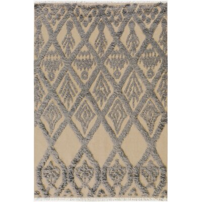 One-of-a-Kind Alastar Hand-Knotted Wool Ivory/Blue Area Rug Rug Size: Rectangle  5 x 7