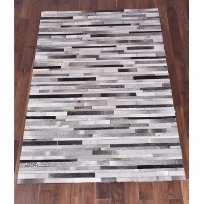 Council Hand-Woven Cowhide Gray/Black Area Rug Rug Size: Rectangle 5 x 8