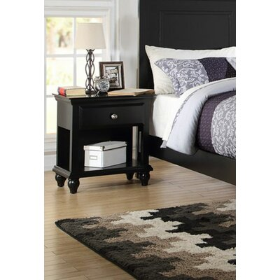 Ensley 1 Drawer Nightstand Color: Black
