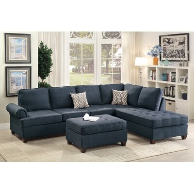 Reiche Reversible Sectional with Ottoman Upholstery: Dark Blue