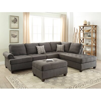 Reiche Reversible Sectional with Ottoman Upholstery: Ash Black