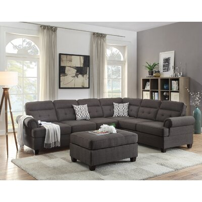 Post Reversible Sectional with Ottoman Upholstery: Ash Black
