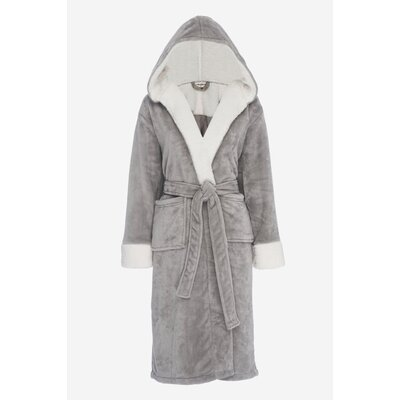 Bolgov Hooded Plush Fleece Bathrobe Size: Large, Color: Gray