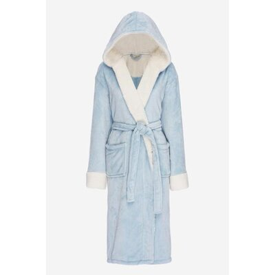 Bolgov Hooded Plush Fleece Bathrobe Size: Large, Color: Sky Blue
