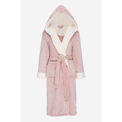 Bolgov Hooded Plush Fleece Bathrobe Size: Large, Color: Rose