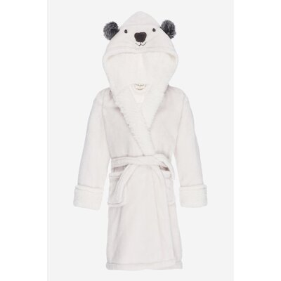 Jennette Kids Hooded Plush Fleece Bathrobe Size: Large, Color: Ivory