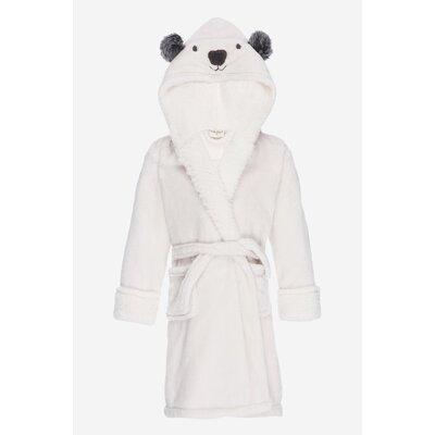 Jennette Kids Hooded Plush Fleece Bathrobe Size: Small, Color: Ivory