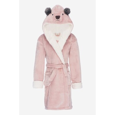 Jennette Kids Hooded Plush Fleece Bathrobe Size: Large, Color: Rose