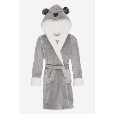 Jennette Kids Hooded Plush Fleece Bathrobe Size: Small, Color: Gray