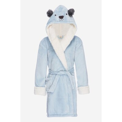 Jennette Kids Hooded Plush Fleece Bathrobe Size: Small, Color: Sky Blue