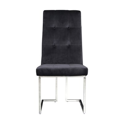 Jolley Upholstered Dining Chair (Set of 2) Upholstery Color: Black, Leg Color: Silver