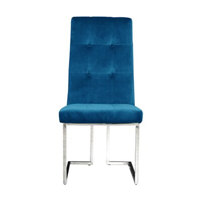 Jolley Upholstered Dining Chair (Set of 2) Upholstery Color: Dark Blue, Leg Color: Silver