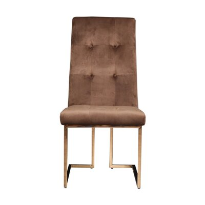 Jolley Upholstered Dining Chair (Set of 2) Upholstery Color: Brown, Leg Color: Gold