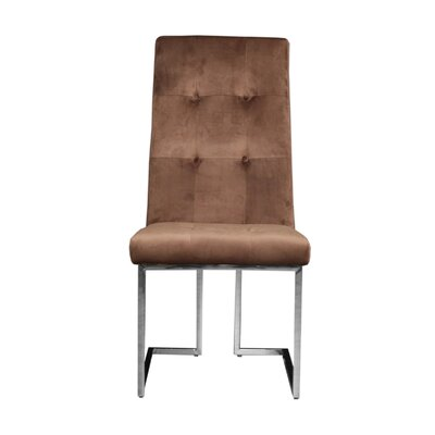 Jolley Upholstered Dining Chair (Set of 2) Upholstery Color: Brown, Leg Color: Silver