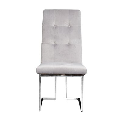 Jolley Upholstered Dining Chair (Set of 2) Upholstery Color: Gray, Leg Color: Silver