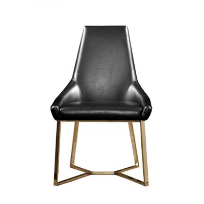 Mchone Upholstered Dining Chair (Set of 2) Upholstery Color: Black, Leg Color: Gold