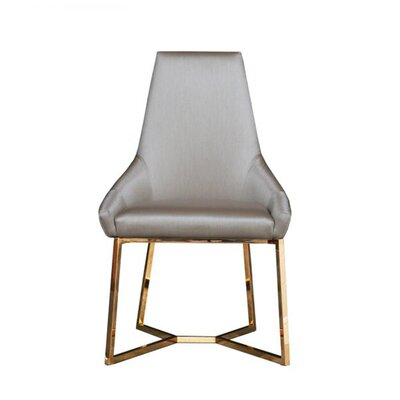 Mchone Upholstered Dining Chair (Set of 2) Upholstery Color: Champagne, Leg Color: Gold