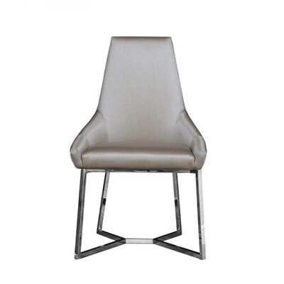 Mchone Upholstered Dining Chair (Set of 2) Upholstery Color: Champagne, Leg Color: Silver