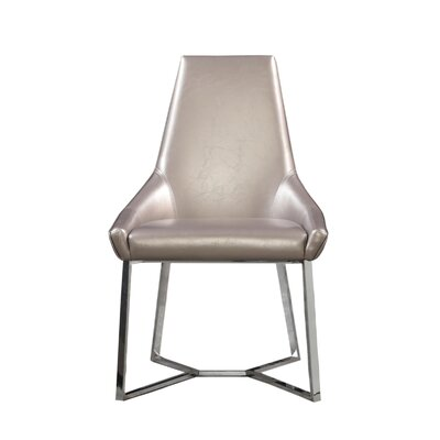 Mchone Upholstered Dining Chair (Set of 2) Upholstery Color: Oyster, Leg Color: Silver