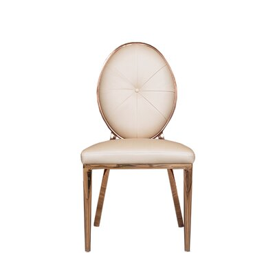 Fraise Upholstered Dining Chair (Set of 2) Upholstery Color: Pearl Beige, Leg Color: Gold