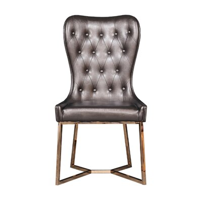 Holmin Upholstered Dining Chair (Set of 2) Upholstery Color: Brown, Leg Color: Gold