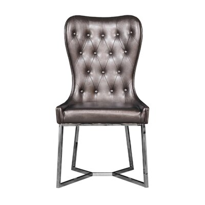 Holmin Upholstered Dining Chair (Set of 2) Upholstery Color: Brown, Leg Color: Silver