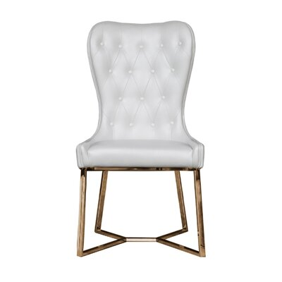 Holmin Upholstered Dining Chair (Set of 2) Upholstery Color: White, Leg Color: Gold
