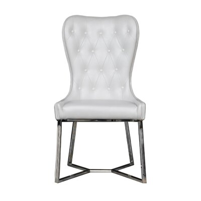 Holmin Upholstered Dining Chair (Set of 2) Upholstery Color: White, Leg Color: Silver